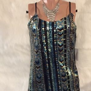 Forever 21 sequin party dress strappy back NWT